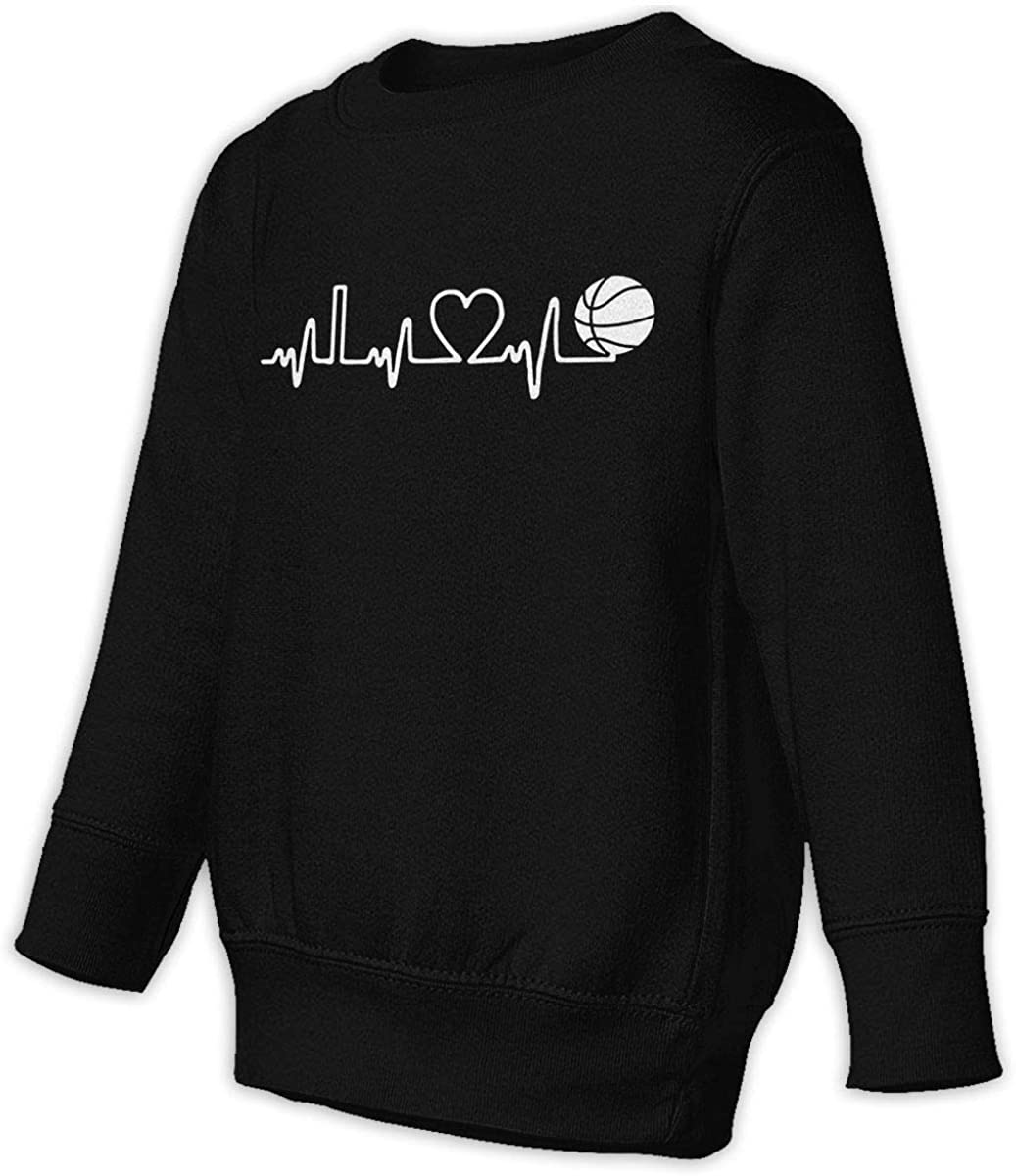 Basketball Heartbeat Boys Girls Pullover Sweaters Crewneck Sweatshirts Clothes for 2-6 Years Old Children