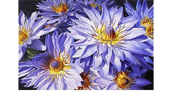 Amazoncom Blue Lotus Art Print Floral Painting Hawaii Tropical