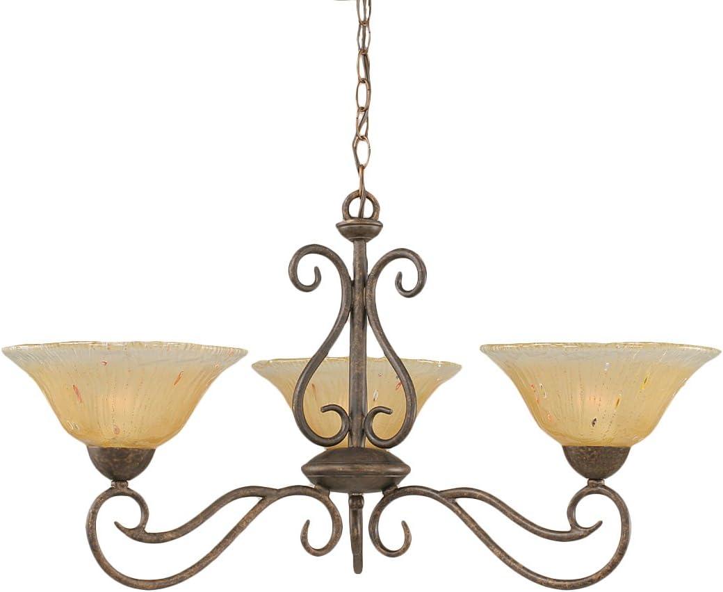 Toltec Lighting 43-BRZ-730 Olde Iron Three-Light Uplight Chandelier Bronze Finish with Amber Crystal Glass, 10-Inch