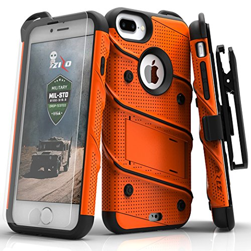 (Zizo Bolt Series Compatible with iPhone 8 Plus Case Military Grade Drop Tested Tempered Glass Screen Protector Holster iPhone 7 Plus case Orange)