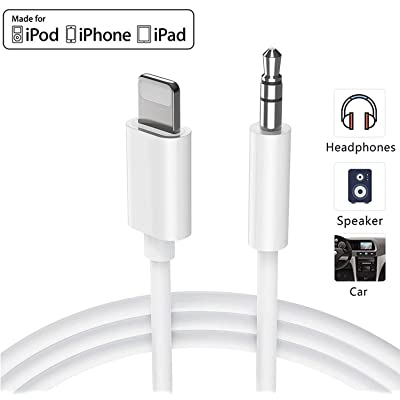 Aux Cord for iPhone 11/11Pro Aux Cable for Car for iPhone 8/8Plus/X/Xs/XR/7/7Plus 3.5mm Jack for Car/Home Stereo/MP3/Speaker Adapter Aux Headphone Adapter Connector Support All iOS System(White)