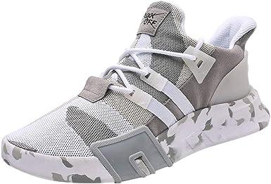 Zapatillas Running Hombre Ofertas Lanskirt Hombres Zapatillas de Deporte Casuales Deporte Correr Camuflaje Plano Transpirable Zapatos con Cordones: Amazon.es: Ropa y accesorios