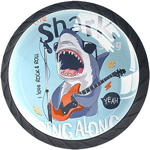 Drawer Handles Round Kitchen Cabinet Knobs Cartoon Shark Playing The Guitar 4 Pack Crystal Furniture Pulls Dresser Knobs for Bedroom Bathroom Desk