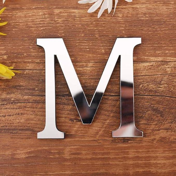 Malloom D/écoration Art Mural Lettres Miroir 3D de Bricolage Acrylique Autocollant Mural A, Or