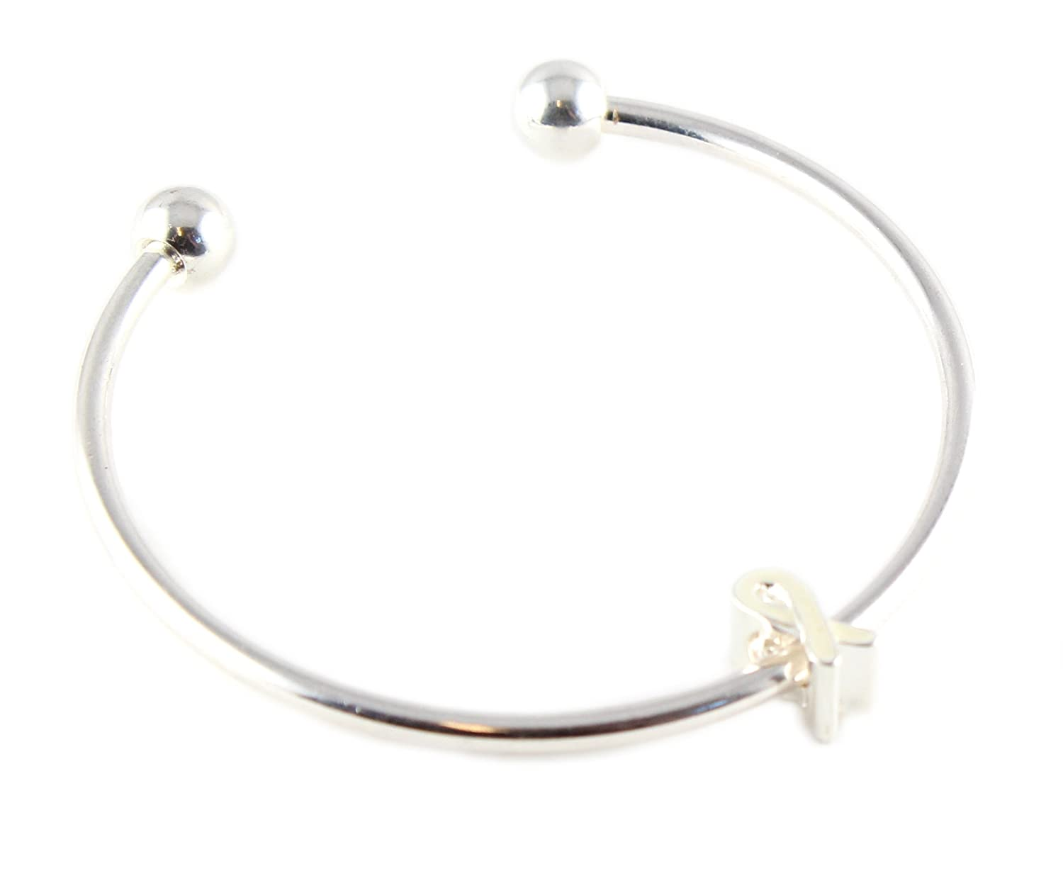 White Ribbon Charm on Cuff Bracelet Buy 1 Give 1 Awareness Products Warehouse