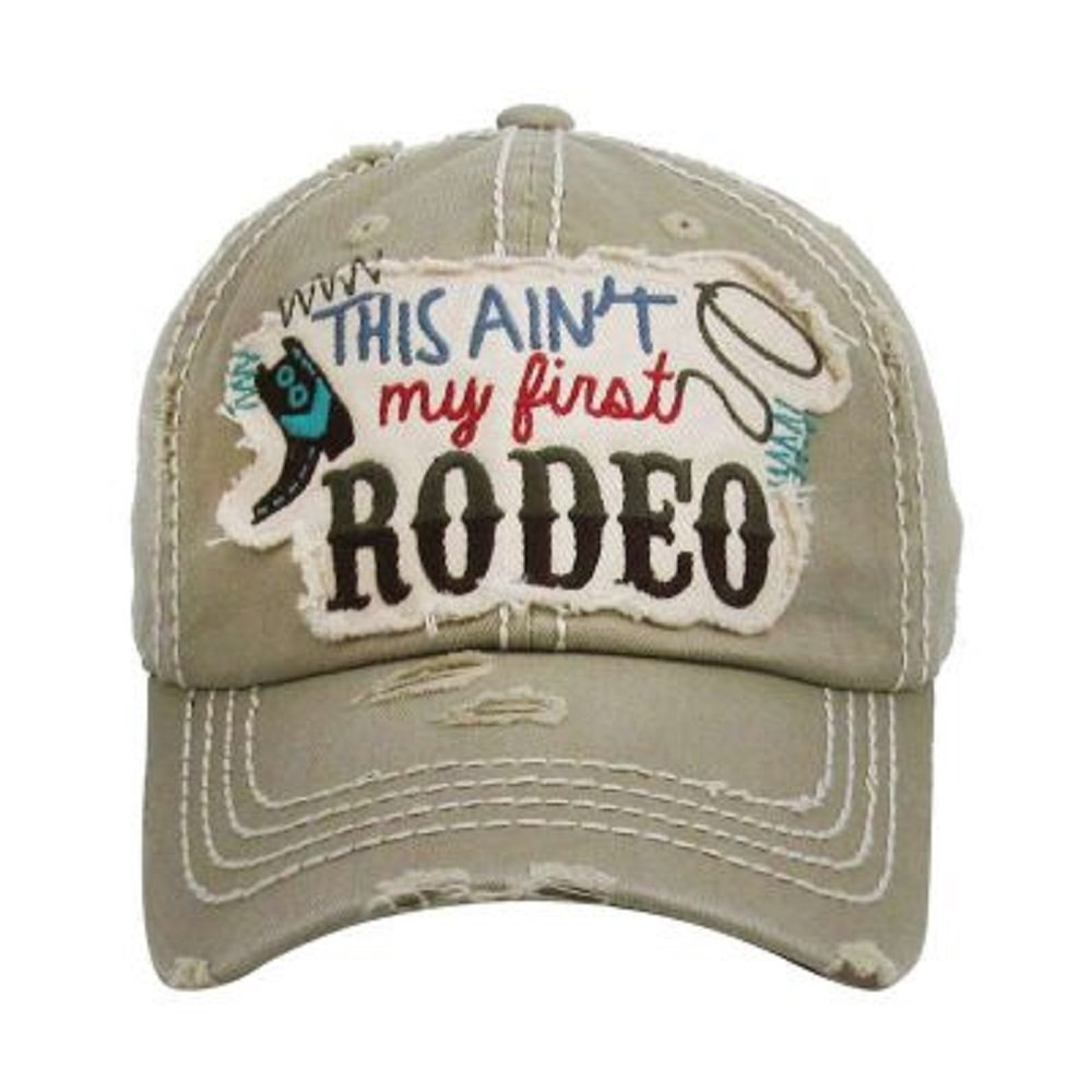 KB JP Adjustable This Aint My First Rodeo Boot Rope Vintage Distressed Hat Cap (Brown Tan)