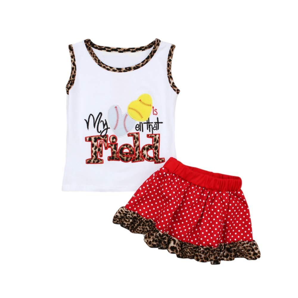 Sleeveless for Baby Toddler Infant Girl Tank Tee and Polka Dot Skirt Clothing Set Leopard Print