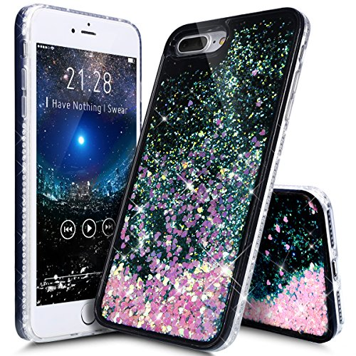 Price comparison product image iPhone 8 Plus Case,iPhone 7 Plus Case,ikasus Flowing Floating Quicksand Bling Glitter Sparkle [TPU+PC] Rhinestone Diamond Bumper Glitter Sparkle Bling Case Cover for iPhone 8 Plus / 7 Plus,A