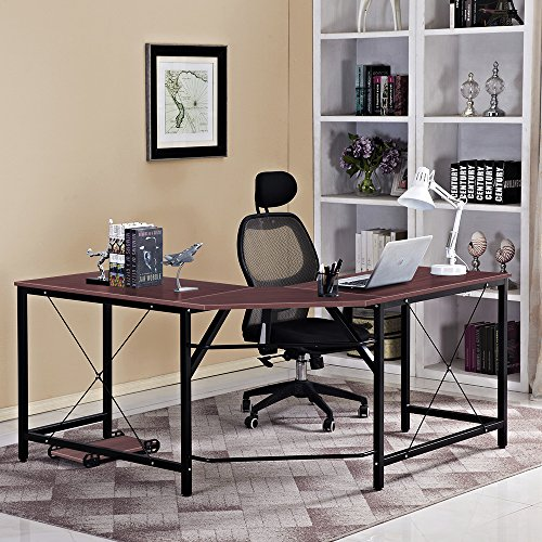 DlandHome L-Shaped Computer Desk 59 inches x 59 inches, Composite Wood and Metal, Home Office PC Laptop Study Workstation Corner Table with CPU Stand, ZJ02-WB Walnut and Black Legs