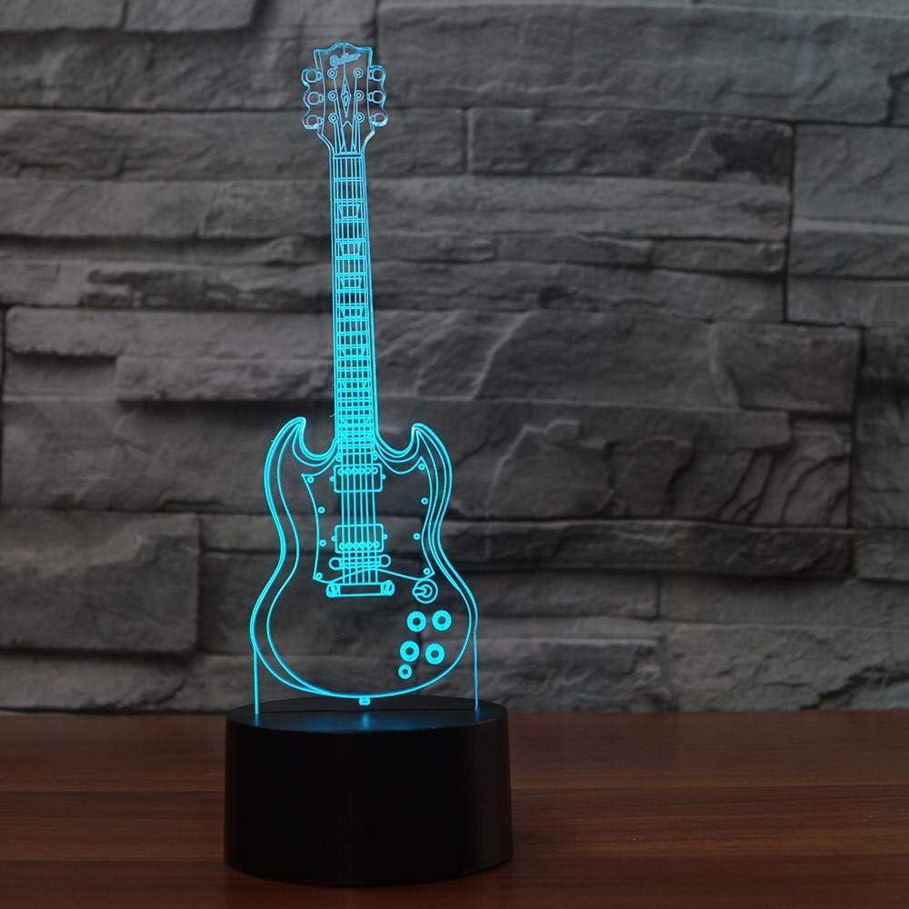 Guitarra eléctrica con luz 3D creativa Modelo Illusion Lámpara 3d ...