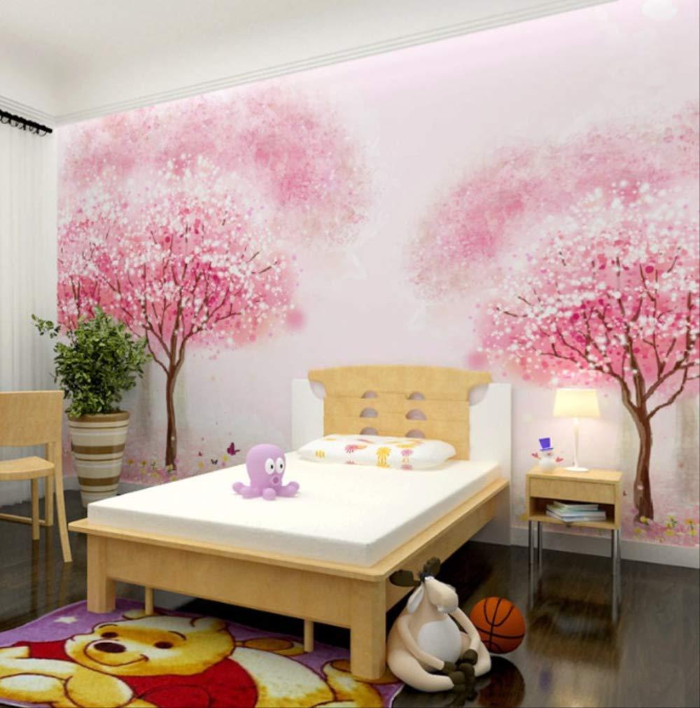 A 高さ100cm 200cm 幅 子供部屋の女の子部屋ピンクの木の壁紙ベッド