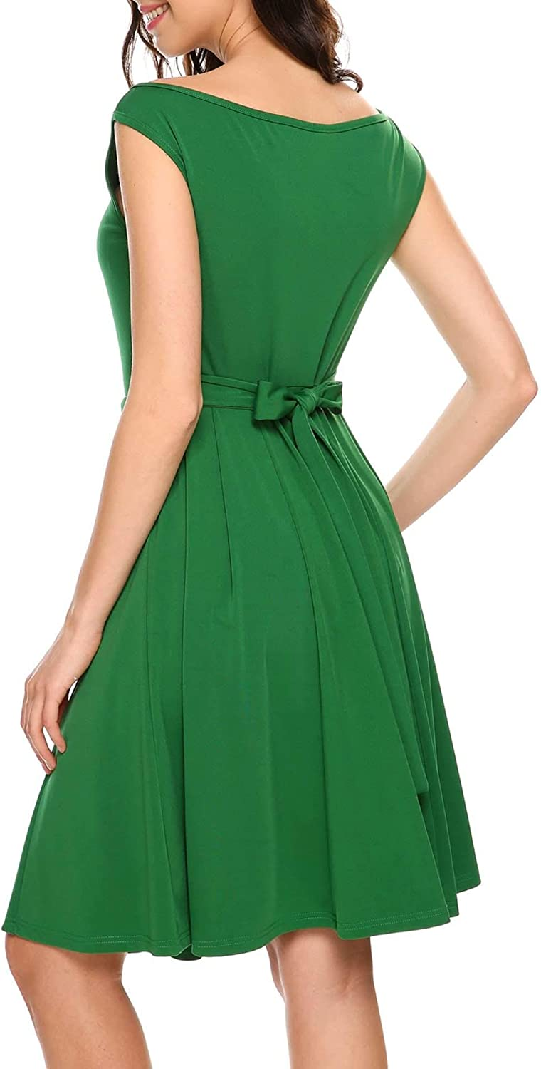 ANGVNS Women Casual Boat Neck Fit and Flare Business Cocktail Midi Dress