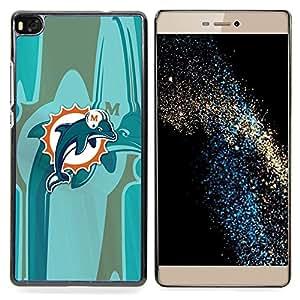"""Qstar Arte & diseño plástico duro Fundas Cover Cubre Hard Case Cover para Huawei Ascend P8 (Not for P8 Lite) (Miami Dolphin Equipo"""")"""