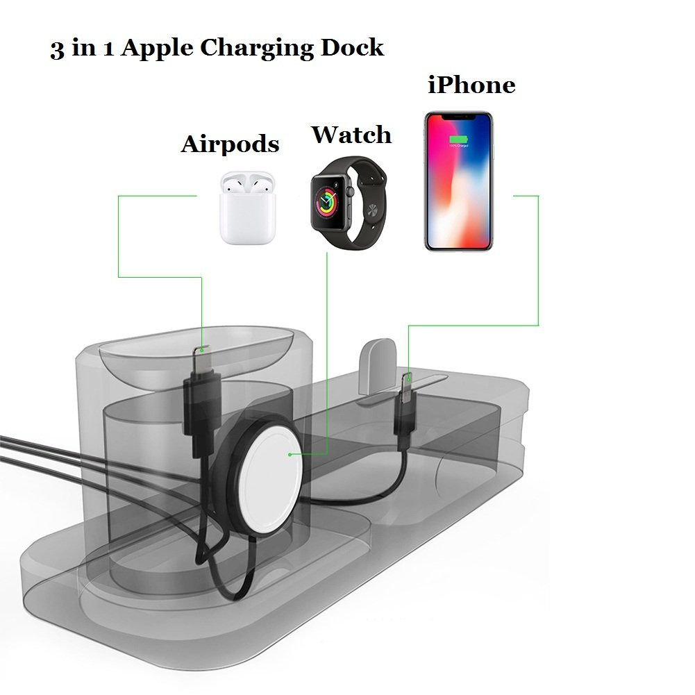 KEHANGDA 3 in 1 Charging Stand for iPhone AirPods Apple Watch Charger Dock Station Silicone,Support for Apple Watch Series 3/2/ 1/ AirPods/iPhone ...