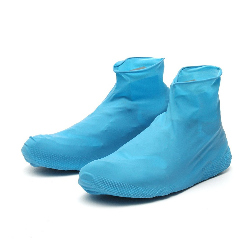 Rubber Waterproof Shoe Cover Reusable Boot Motorcycle Bike Overshoe Men Women Blue L