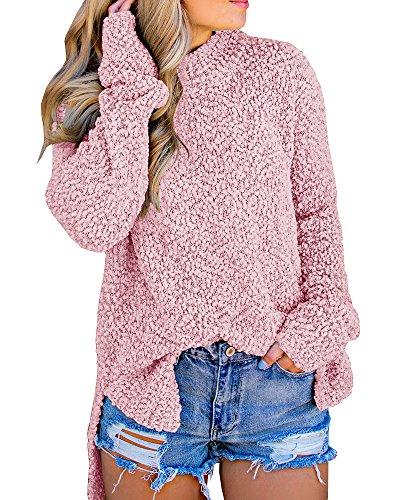 (Ybenlow Womens Fuzzy Sweaters Sherpa Fleece Side Slit Long Sleeve Pullover Knit Jumper Slouchy Tunic Tops Outwear Pink)