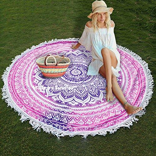 Susufaa Beach Towel Indian Throw Mandala Round Roundie Hippy Boho Gypsy Chiffon Dorm Tapestry Picnic Pad Tablecloth Curtain Wall Hanging Sofa Cover Bed Cover (Purple Tassel)