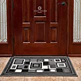 Front Door Mat Welcome Doormat for Home, Indoor, Entrance, Kitchen, Patio, Entry - Waterproof Low Profile Entryway Rug - Natural Jute Backing - Power Loomed in Turkey | 24'' x 36'', Gallery Grey