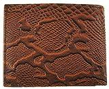 Mens Cowboy Leather Bifold Multi Card Panther Skin Print Western Wallet Brown