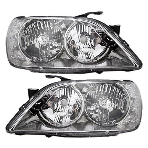 Pair Set HID Combination Headlights Headlamps w/Chrome Bezel Units Replacement for 01-05 Lexus IS300 8118553041 8114553041 ()