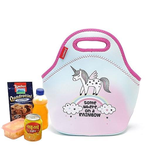 Unicornio Bolsas de almuerzo neopreno,Bolsas de comida neopreno Bolsas de comida para el trabajo Bolsas de almuerzo para mujeres niños hombres