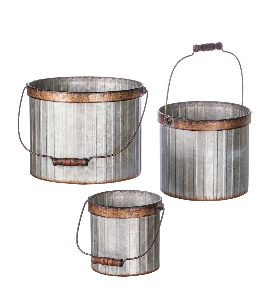 Set of 3 Assorted Sullivans Galvanized Corrugated Metal Bucket Pails
