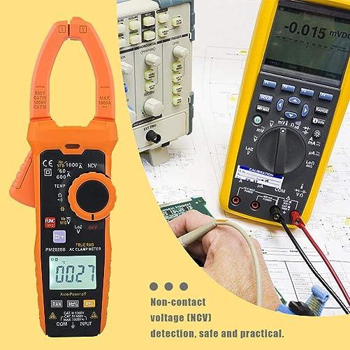 Digital Clamp Multimeter, Akozon Clamp Meter 6000 Counts Digital Clamp Multimeter NCV Hz Ohm Capacitance Temp Meter PM2028B