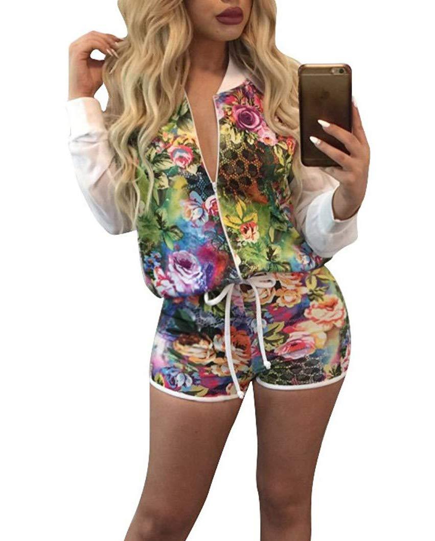 Dreamparis Women's Floral Prints 2 Pieces Outfit Mesh Patchwork Long Sleeve Blazer+Shorts Set Rompers White, X-Large