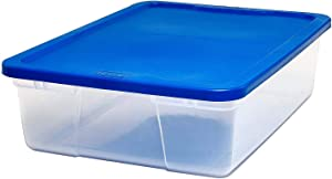 Homz Plastic Underbed Storage, With Lid, 28 Quart, Clear, Stackable, 8-Pack