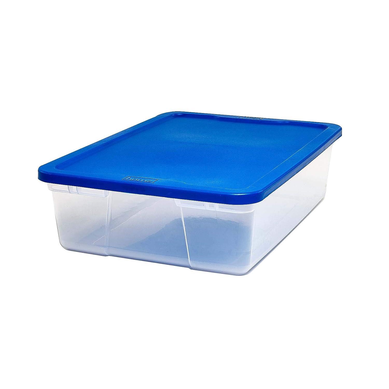Homz Plastic Storage Shoe Box, With Lid, 6 Quart, Clear, Stackable, 10-Pack 3206CLBLDC.10
