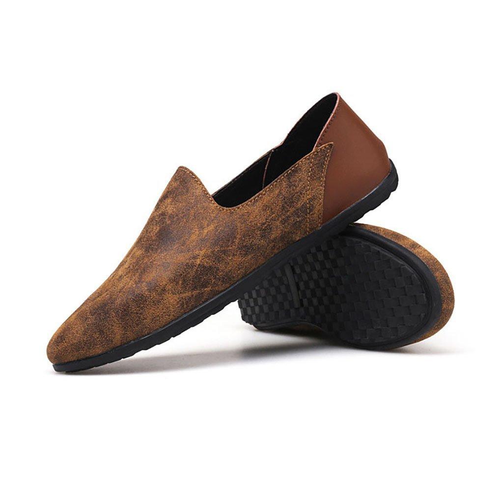 Herrenschuhe Casual Leder Oxfords Schuhe Kleid Loafers Schuhe Geschäft Flat Driving Schuhes (YAN),B,42