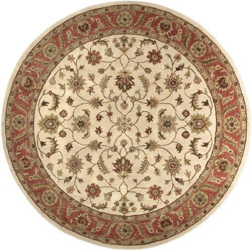 Crowne Beige Rug (Surya Traditional Round Area Rug 8' Golden Beige-Rust Crowne)