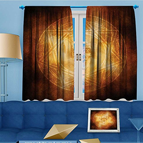 alsohome Bedroom Blackout Curtains Set -mDem Trap Symbol Logo Ceremy Creepy Ritual ntasy Paranormal Window Treatments Home Decoration Curtains, 72'' W x 45'' L by alsohome