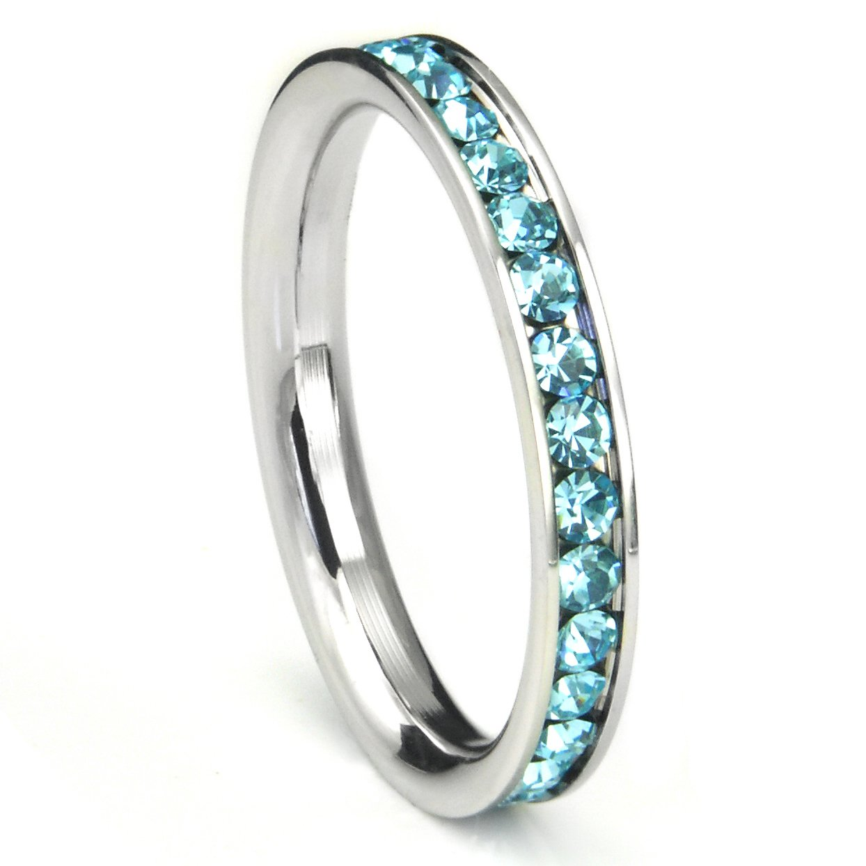 Metal Factory 316L Stainless Steel Aqua Light Blue Cubic Zirconia CZ Eternity Wedding 3MM Band Ring Sz 6