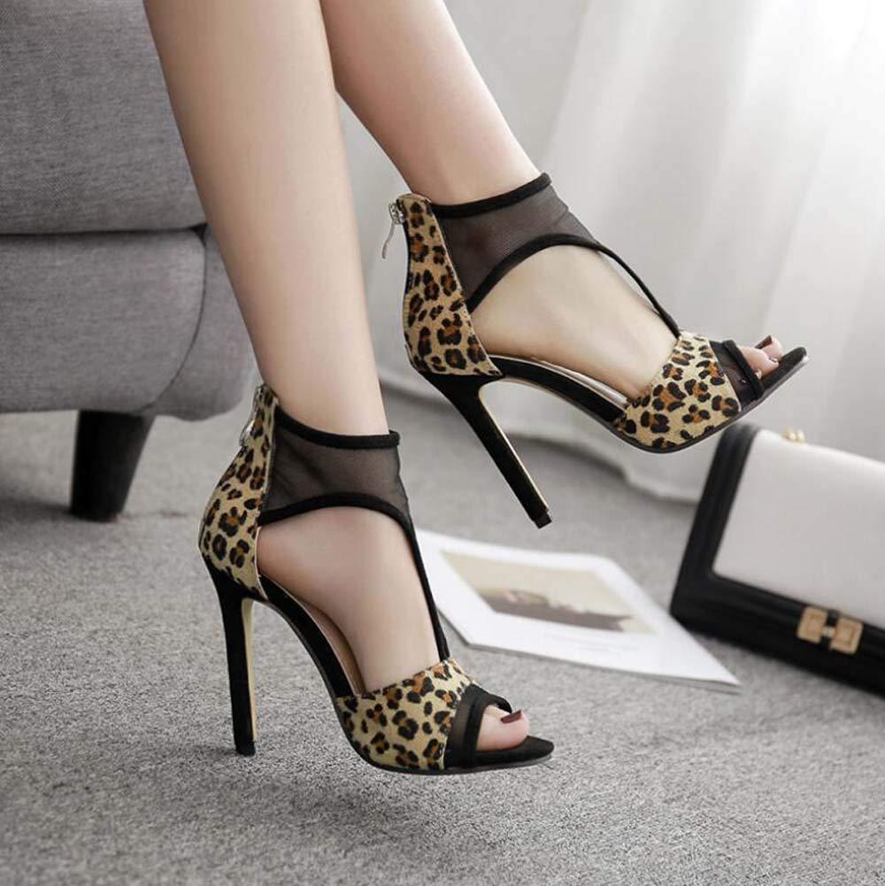 11.5cm Stiletto Pump D ' Orsay Orsay Orsay Sandals Frauen Sexy Peep Toe Leopard Print Mesh T-Strap OL Court Schuhe Eu Größe 35-40 7e433c
