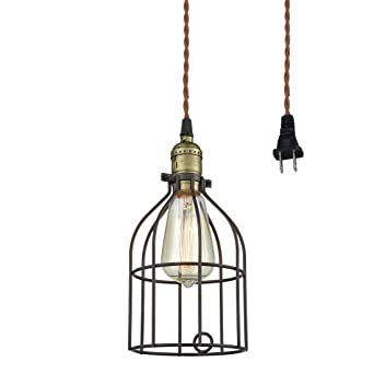 truelite industrial vintage style mini plugin pendant light metal bird cage edison