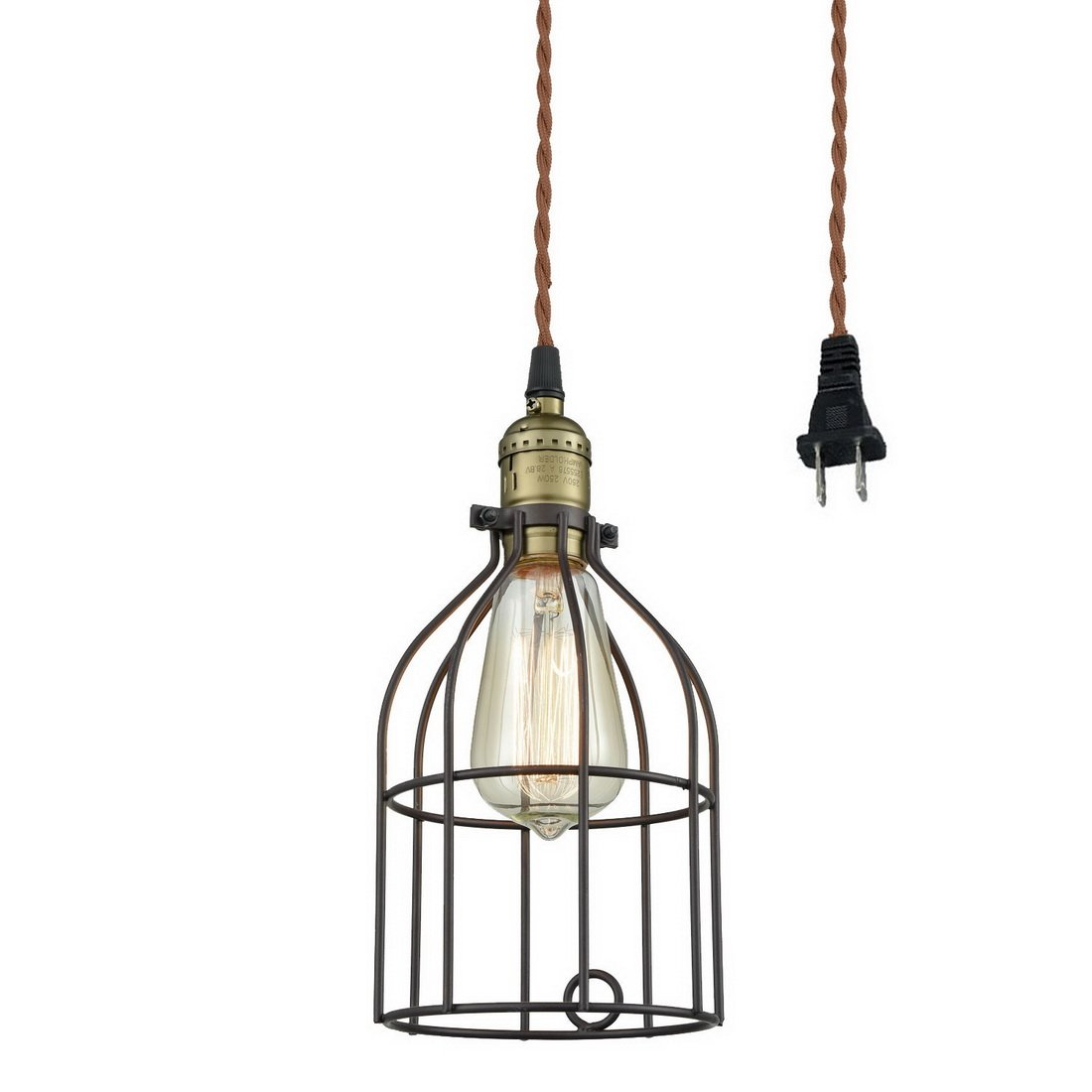 Truelite Industrial Vintage Style Mini Plug-in Pendant Light, Metal Bird Cage Edison Hanging Light with Toggle Switch