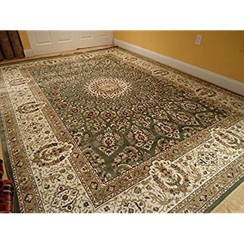 Large Stunning Silk 8x12 Green Dining Room Rug Rugs Luxury Persian For Living Rooms