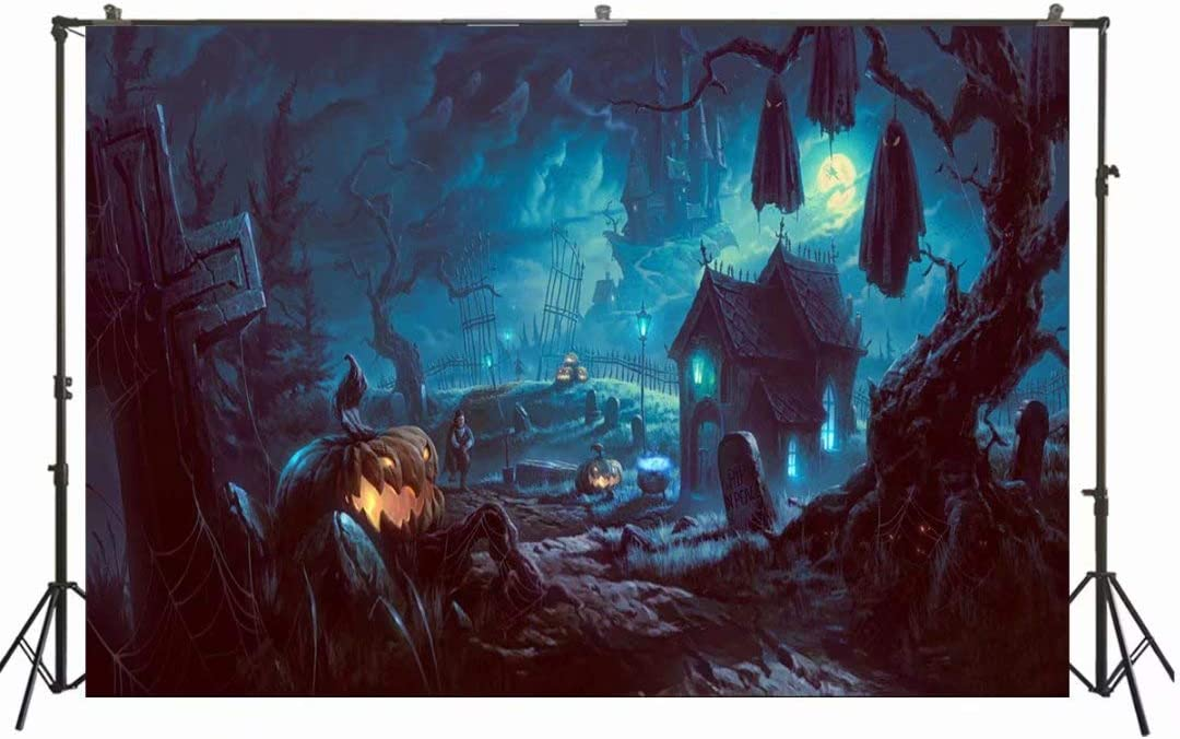 10x10ft Halloween Backdrop Pumpkin /& Horror Nights /& Mysterious Forest Castle /& Hallowmas Costume Party Masquerade Decoration Photo Background Studio Props WSJ-144