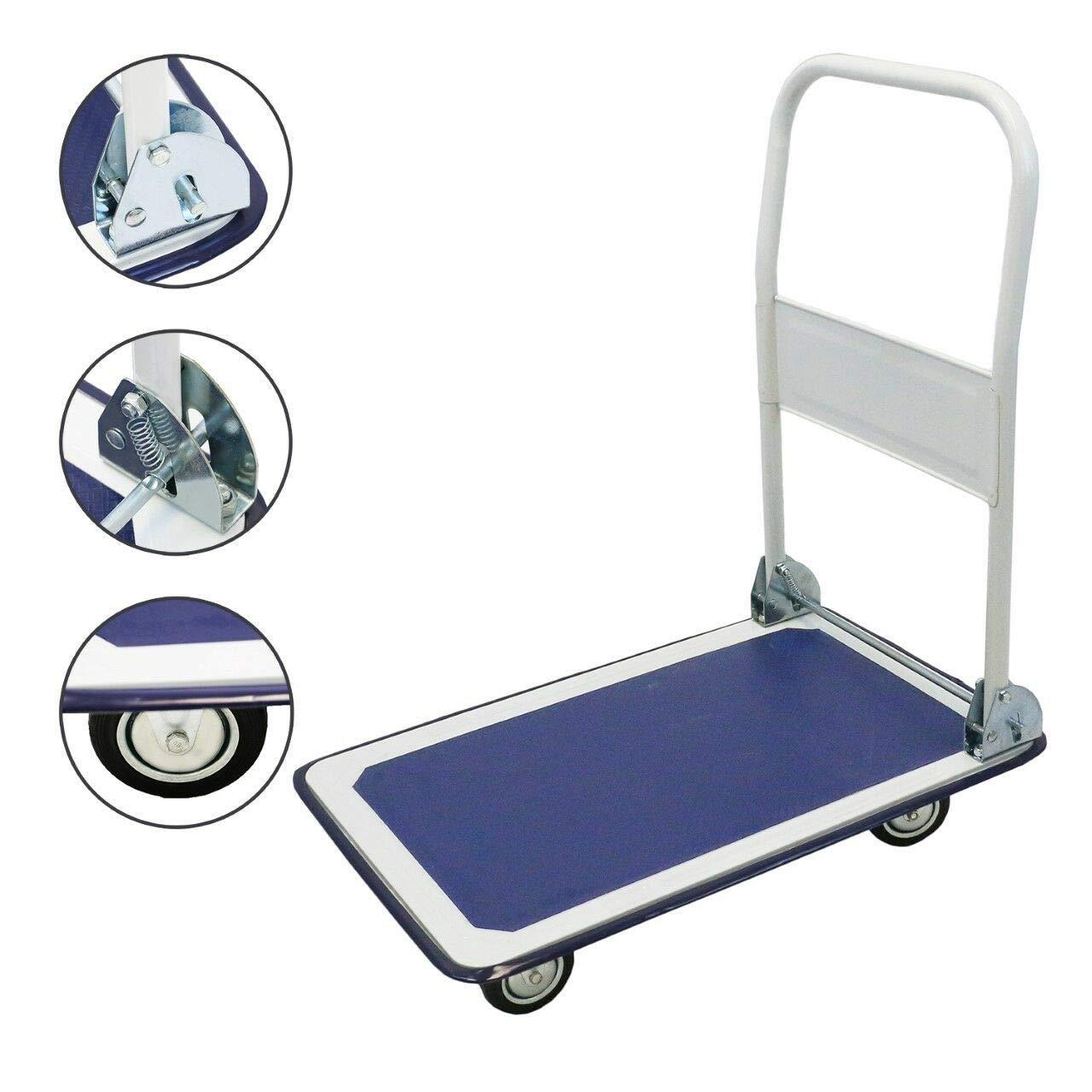 New Platform Cart Folding Dolly Moving Push Hand Truck Warehouse - 330lbs Blue