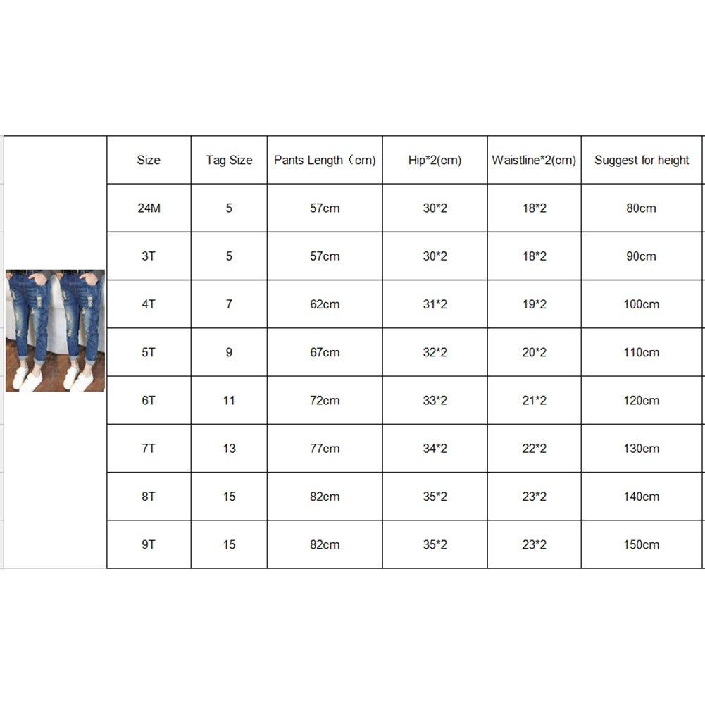 junkai Jeans Strappati per Ragazze Bambini Primavera Autunno Denim Pantaloni Comodi Stretch Vita Elastica Casual Pantalone Jeans Blu Scuro