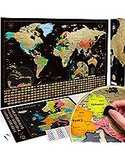 Wereldkaart om te krassen, het origineel van Wanderlust Maps, kraswereldkaart (61 x 43 cm) + kraskaart (46 x 33 cm), zwart/goud, met accessoires en geschenkverpakking, gemaakt in de EU.