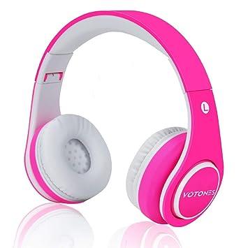 VOTONES Auriculares inalámbricos para niñas, aceite de goma Material cómodo sobre la oreja Auriculares Bluetooth Chirens,límite de volumen 85dB compatible ...