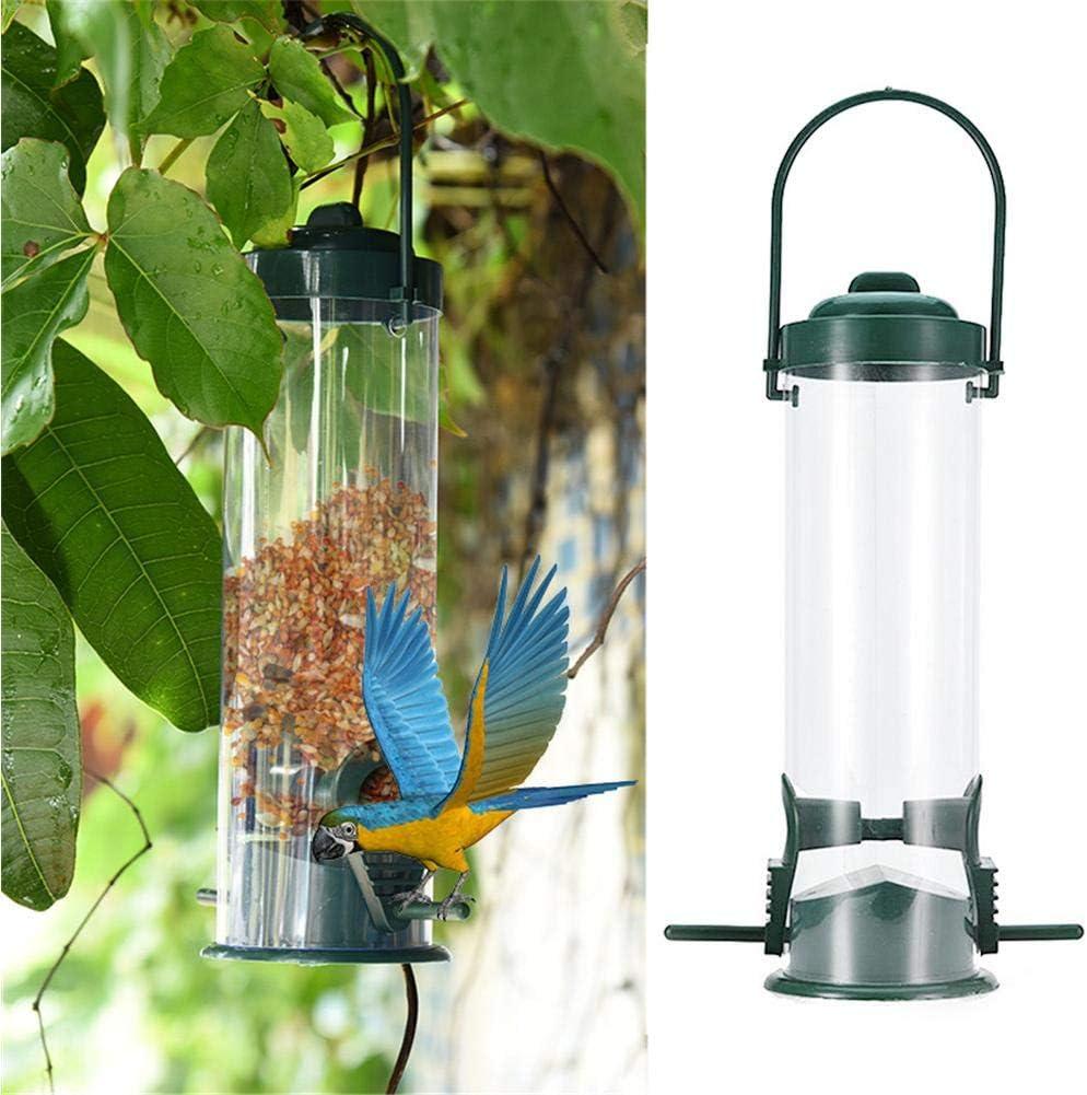 Mona43Henry Alimentador de Semillas para comedero de pájaros Salvajes para jardín al Aire Libre con Dos Puertos de alimentación, óxido de PVC, Verde
