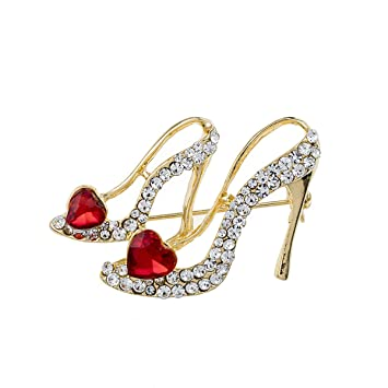2ccfc2b0b613d Amazon.com: Beiswe Hollow High Heels Shoe Brooch Golden Plated Inlay ...