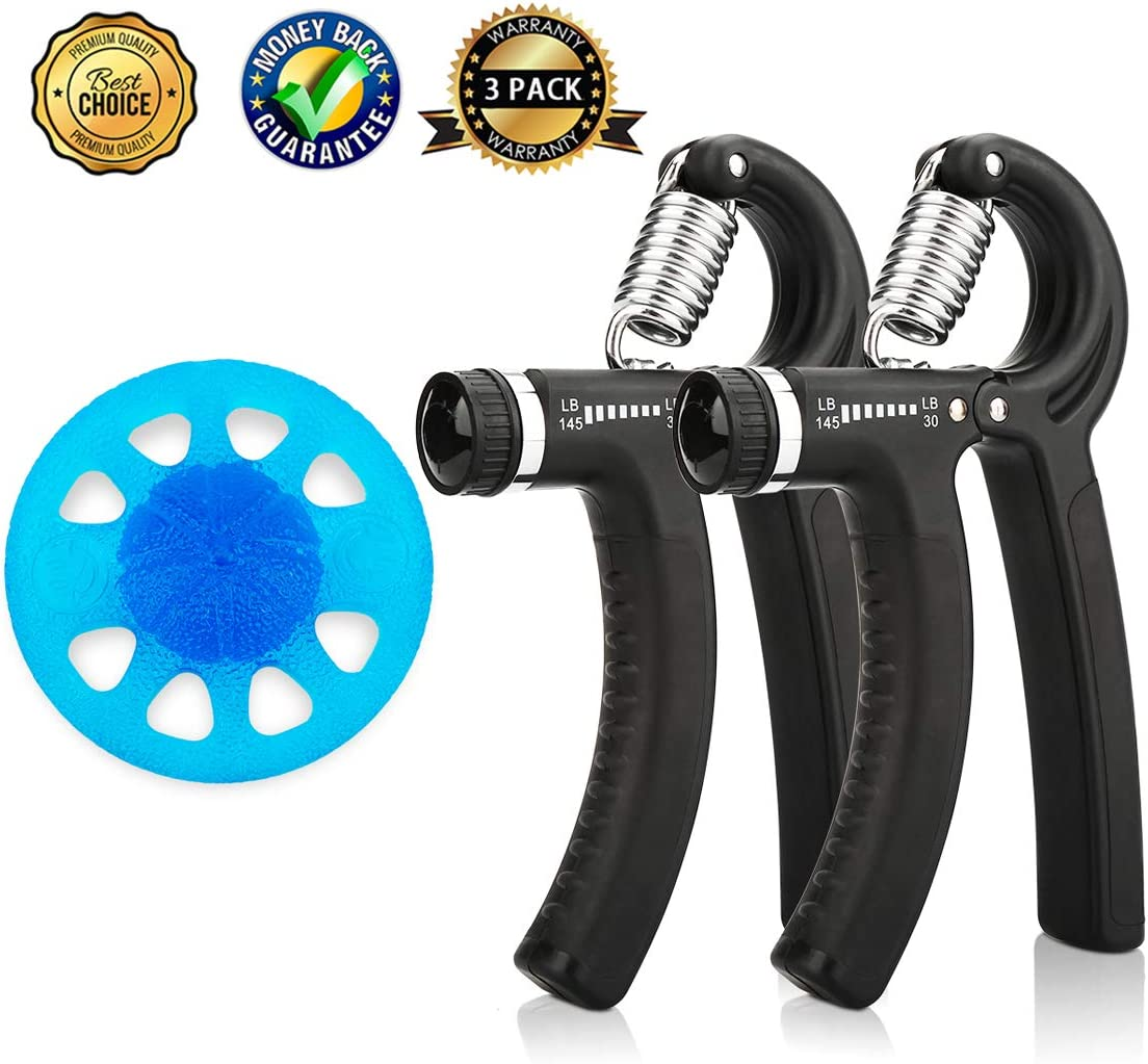 CHIOU Hand Grip Strengthener Kit 3 Pack , Adjustable Hand Gripper and Finger Strengthener, Grip Strength Resistance with 30-145LB 13-45kg