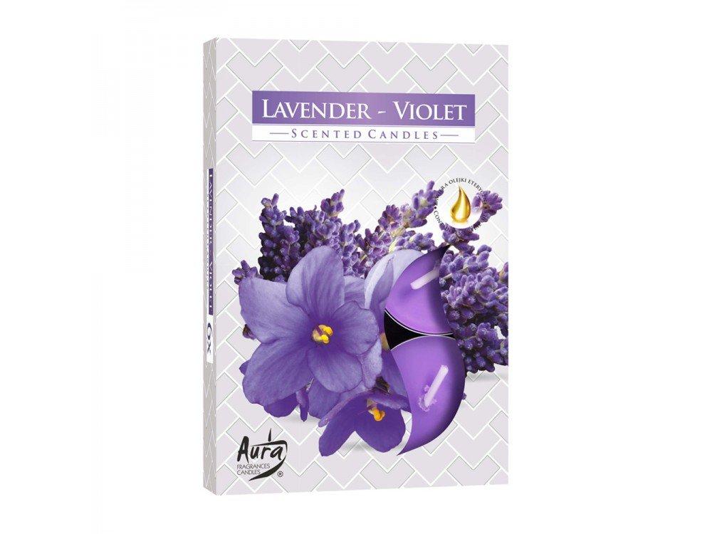 GIRM® - HX922311 Candele profumate , di paraffina, all'aroma di lavanda-viola. Set 6 Pezzi - Tealight Profumatore per ambiente. Candele odorate per la casa . Aromaterapia AB.M