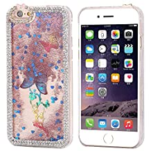 iPhone5S/SE Case ,FLOVEME [Shiny Butterfly Series] Sparkly Diamond and Liquid Quicksand Protective Cover for Apple iPhone5S/SE - Rose Red