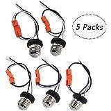 Rextin Medium Edison E26 Socket adapter Base Male Screw In Light Bulb Socket Pigtail For Led Ceiling lights downlight Pack of 5 (5pcs Socket Base)