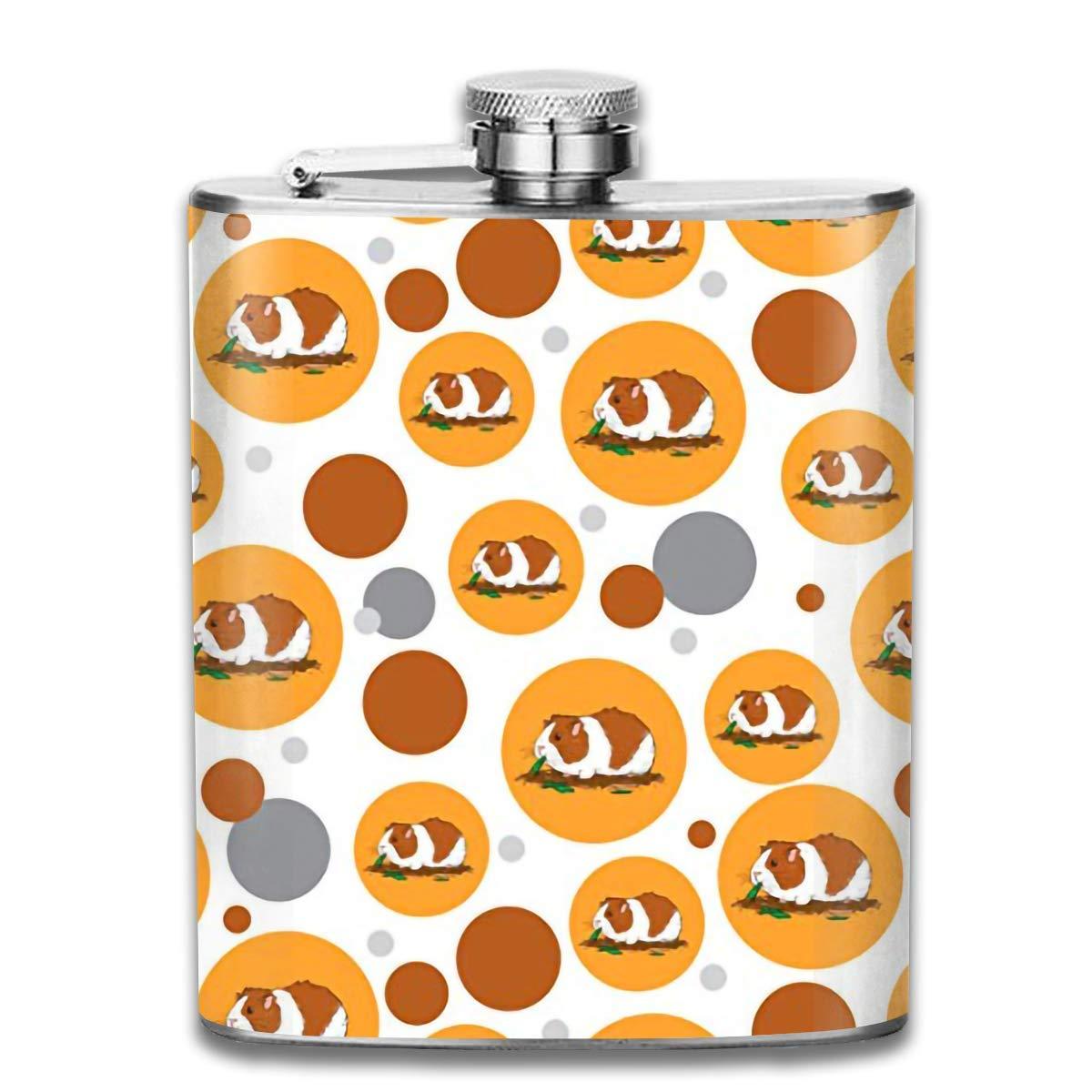 dfegyfr Men and Women Thick Stainless Steel Hip Flask 7 OZ Cute Guinea Pigs Pocket Bottle for Drinking Liquor Whiskey Unisex3